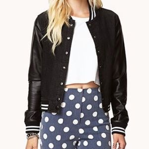 Forever 21 Jacket Faux Leather Sleeve S